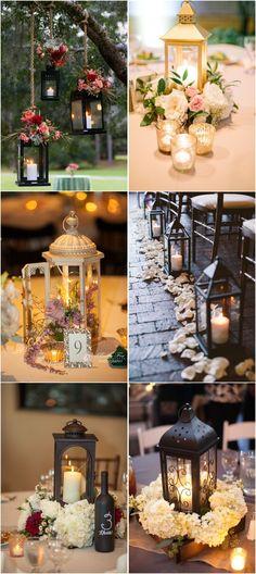 20 Intriguing Rustic Wedding Lantern Ideas You Will Heart! Rustic Lantern Centerpieces, Rustic Country Wedding Decorations, Rustic Lanterns, Wedding Aisle Decorations, Wedding Lanterns, Rustic Weddings, Country Weddings, Wedding Tables, Country Wedding Inspiration