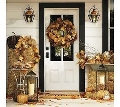 Love the wreath and multi-colored pumpkins