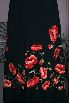 View this item and discover similar for sale at - Extraordinary hand embroidered shawl dates from the early Century. Heavy black silk crepe is completely embroidered,covered with lifelike poppies Fabric Painting On Clothes, Fabric Paint Shirt, Painted Clothes, Saree Painting, Dress Painting, Silk Painting, Embroidery Suits Design, Hand Embroidery Designs, Hand Painted Sarees