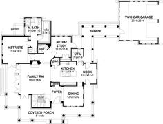Plan 61-106 Country Style House Plans - 2552 Square Foot Home , needs basement, guest room, eliminate breezeway so media and nook meet garage.