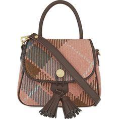 Winter tartan tote satchel ($585) ❤ liked on Polyvore featuring bags, handbags, winter richard, brown satchel purse, brown purse, satchel purse, tassel purse and plaid purse