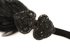 Black Feather Flapper Headband, Roaring 20's Gatsby Headpiece, Art Deco Wedding, 1920s Headpiece, Flapper Headband, Gatsby Headpiece