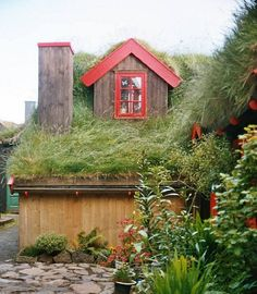 I can't decide whether I love or hate the living roof. Looks like it would insulate pretty well...