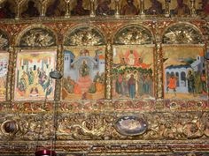 Paintings inside Ardenica, an old monastery in central Albania.