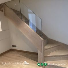 Abbott-Wade stained oak staircase with frameless glass balustrade. New Staircase, Staircase Design, Staircase Ideas, Stair Banister, Hallway Ideas, Loft Stairs, House Stairs, Winder Stairs, Frameless Glass Balustrade