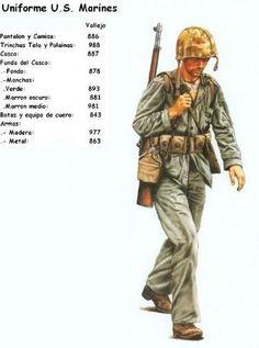 Military Figures, Military Diorama, Military Art, American Uniform, 40k Armies, Paint Charts, Ww2 Uniforms, Ww2 History, Military Modelling