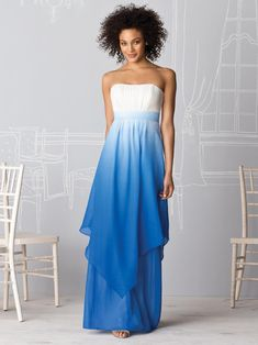 After Six Bridesmaids by Dessy Strapless full-length ombre or print chiffon dress with shirred bodice, set in waistband and hankercheif overlay. Ombre Bridesmaid Dresses, Blue Bridesmaids, Bridal Dresses, Plum Dresses, Dresses 2014, Pretty Dresses, Casual Dresses, Wedding Attire, Wedding Gowns