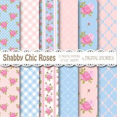 Shabby Chic Digital Paper ROMANTIC Pink Blue by DigitalStories, €2.60