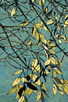 """River Birch"" linocut by Lisa VanMeter"