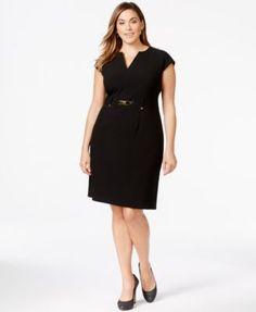 Calvin Klein Plus Size Belted Shift Dress   macys.com