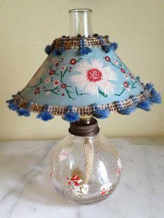 Vintage Miniature Glass Kerosene Lamp with Paper by luckyjunkshop, $35.00