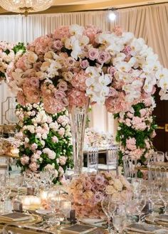 A Dreamy Luxury Wedding You'll Hardly Believe is Real! - Belle The Magazine Luxury wedding centerpiece - Lin And Jirsa Photography This image ha. Tall Wedding Centerpieces, Flower Centerpieces, Reception Decorations, Centerpiece Ideas, Tall Centerpiece, Centrepieces, Flower Vases, Cheap Wedding Flowers, Floral Wedding