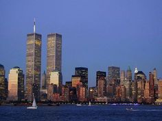 New York City - how the skyline looked from out by the Statue of Liberty prior to the towers going down.  So beautiful.