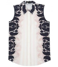 Printed sleeveless silk shirt