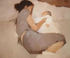 """Mother and Child"" - Nguyen Thanh Binh {contemporary artist figurative female reclining woman posterior back painting} Maternal ! Figure Painting, Painting & Drawing, Illustrations, Illustration Art, Kunst Online, Foto Baby, Mothers Love, Figurative Art, Love Art"