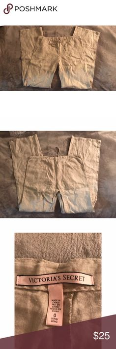 Victories Secret beach pants Tan beach pants long inseam never worn just been in my closet, size 0. Perfect for bikini cover up. Victoria's Secret Pants Boot Cut & Flare