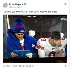 Meme's the Word: NY Giants Daniel Jones and Eli Manning Get Meme'd Best Memes, Funny Memes, Hilarious, Jokes, Nfl Football Teams, Dark Memes, Spongebob Memes, Meme Lord, Mario Kart