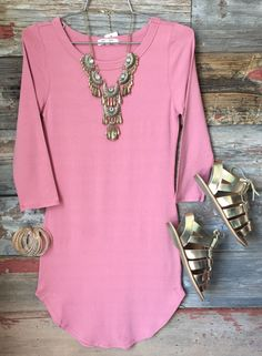 The Fun in the Sun Tunic Dress in Dusty Rose is comfy, fitted, and oh so fabulous! A great basic that can be dressed up or down! Sizing: Small: Medium: Large: True to Size with a Stretchy Cool Outfits, Summer Outfits, Love Fashion, Fashion Outfits, Dusty Rose Dress, Cute Dresses, Fitted Dresses, Business Casual Outfits, Work Looks