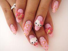 Hello Kitty pink heart leopard print Japanese gel nails