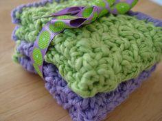 Bernat Cottontots cotton yarn using Ravelry's Oh So Soft Baby Washcloths pattern by Theresa Grant.
