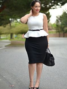 Curvy Woman Black Pencil Skirt White Peplum Top With Skinny Black Belt and Black High Heels