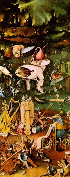 Hieronymus Bosch, Garden of Earthly Delights Museo del Prado, Madrid, Spain. Right Panel: Hell Back to Bosch! Scary Paintings, Most Famous Paintings, Medieval Art, Renaissance Art, Garden Of Earthly Delights, Illustration Art, Illustrations, Dutch Painters, Oil Painting Reproductions