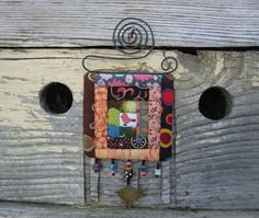 funky bird miniature quilt  one of a kind log cabin by gonetoseed