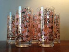 Fred Press Mid Century Highball Glasses  by HeirloomVintageChina