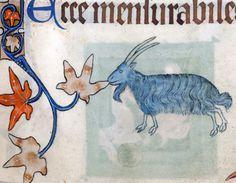 blue goat nibbling a manuscript border  Luttrell Psalter, England ca. 1325-1340  British Library, Add 42130, fol. 76r