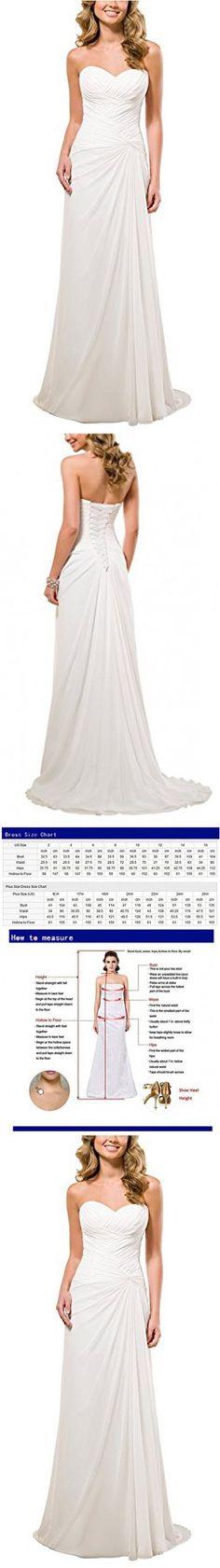 Vivebridal Women's A-Line Chiffon with Pleat Lace Up Beach Wedding Dress White 6