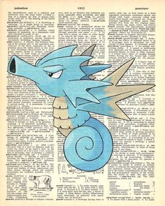 Seadra Pokemon Dictionary Art Print by MollyMuffinsPrints on Etsy