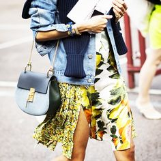 Denim jacket and navy knit are complimented by a mixed floral skirt. // #StreetStyle