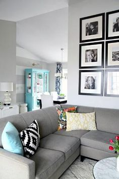 Color Scheme For The Living Room: Navy, Tiffany Blue, Pop Of Yellow, Gray  Walls, Gray Couch. Part 38