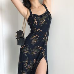 Navy blue wooden ear straps side slit mid-length holiday dress from FE CLOTHING - outfits - Women Fashion Mode, Korean Fashion, Fashion Beauty, Womens Fashion, Fashion Brands, Mode Outfits, Casual Outfits, Navy Outfits, Dance Outfits