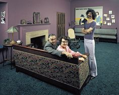 American avant garde and rock musician Frank Zappa (1940-1993) poses with his parents Francis Zappa (1905-1973) and Rose Marie Zappa (nee Colimore, 1912-2004) in his home in Los Angeles, California. IMAGE: JOHN OLSON/THE LIFE PICTURE COLLECTION/GETTY IMAGES