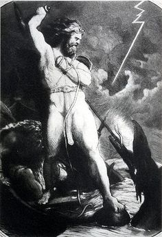 Thor's giant holographic proxy fights his serpentine cousin, Jörmungandr, in rehearsals for the 3 p.m. matinée of Götterdämmerung