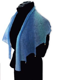 Blue kid mohair jester scarf by GesekeDesigns on Etsy