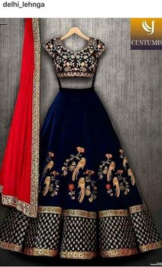 Shop Designer Lehenga Choli Replica Online with the best price. Our Fashion magazine help you get the stylish look for Family Parties and Wedding. Indian Gowns Dresses, Indian Fashion Dresses, Dress Indian Style, Indian Designer Outfits, Pakistani Dresses, Designer Dresses, Indian Lehenga, Blue Lehenga, Lehenga Choli Latest