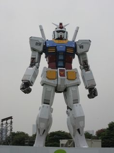 "To celebrate the 30th anniversary of the mecha anime/manga/toy/video game franchise, this 18-meter-tall (59-foot-tall) RX-78 has been erected.    Part of the ""Mobile Suit Gundam 30th Anniversary Project,"" the structure in Odaiba's Shiokaze Park will stay up for only two months and be built from fiberglass-reinforced plastic over a steel frame and coated in a layer of awesomeoness."
