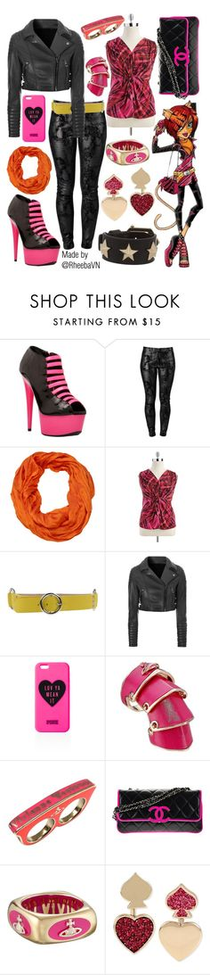 """""""Toralei Stripe (Monster High)"""" by rheebavn ❤ liked on Polyvore featuring The Highest Heel, J APOSTROPHE, AtStyle247, Tahari by Arthur S. Levine, Dolce&Gabbana, Glamorous, Victoria's Secret PINK, Vivienne Westwood, Chanel and Betsey Johnson"""
