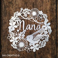 Papercut Template Nana / Nan Mother's Day Birthday PDF Jpeg SVG Make Your Own DIY Celebration Papercut Card from Samantha's Papercuts