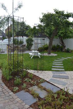 Pergola With Retractable Canopy Garden Steps, Side Garden, Garden Paths, Lawn And Garden, Landscaping A Slope, Potager Garden, Vegetable Garden Design, Garden Structures, Garden Inspiration