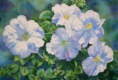 MOONLIT PETUNIAS flower watercolor painting - Original Fine Art for Sale - © Barbara Fox