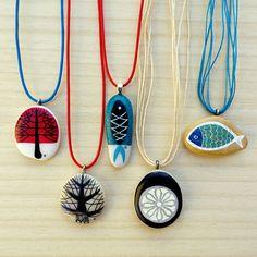 painted stones...pendants...airbrush ink..ZEUSTONES atelier