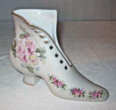 Vintage Porcelain Shoe - Hand Painted Boot - Andrea by Sadek - #12289