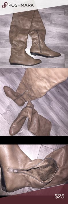 Over the knee boots with faux fur inside Olive/taupe color over the knee boots. Worn maybe twice. Great shape. Faux fur inside to keep you extra warm. Shoes Winter & Rain Boots