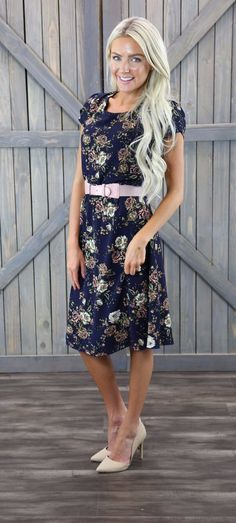 Cassie Dress in Navy This navy floral dress looks great on all body shapes. The Cassie has cap sleeves and is gathered at the waist. Would look great with a belt. Polyester Handwash cold, lay flat to dry. Modest Skirts, Modest Outfits, Modest Fashion, Modest Clothing, Woman Clothing, Sexy Outfits, Fall Outfits, Short Gown Dress, Short Sleeve Dresses