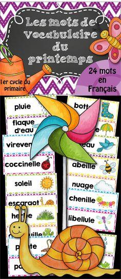 24 mots de vocabulaire sur le thème du #printemps #daily5 #littératie #joueraveclesmots