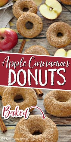 Baked apple cinnamon donuts are such a tasty treat any time of year, especially in the fall and winter. Since these donuts are baked, they are healthier than regular donuts. #applerecipes #donuts #bakeddonuts #donutrecipe