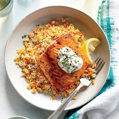 Lemony Roasted Salmon with White Wine Couscous | MyRecipes.com